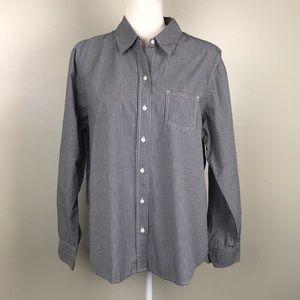GAP White Black Gingham Check Button Front Shirt